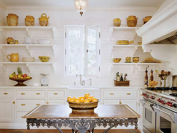 A Marble Top Pastry Table Adds French Style To This Perfectly White Kitchen
