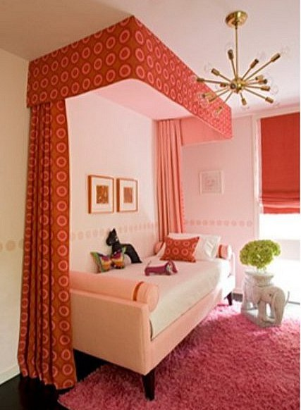 rooms for kids - pink and coral girl's bedroom by Angie Hranowsky via Atticmag