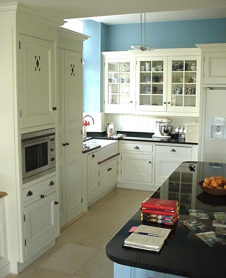 blue kitchen cream colored aga and with cabinets - white robinson and cornish via Atticmag