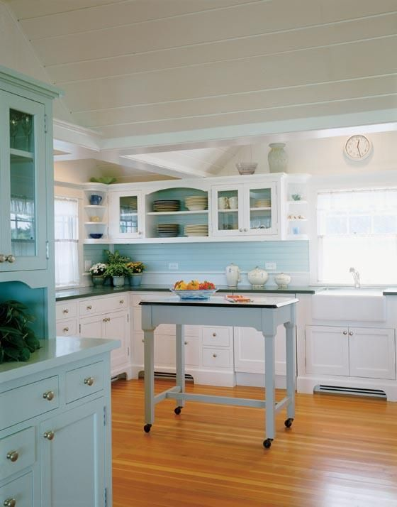 The Colors Of Sand Ocean And Old Seaglass Blue Is A Striking Scheme For Massachusetts Kitchen