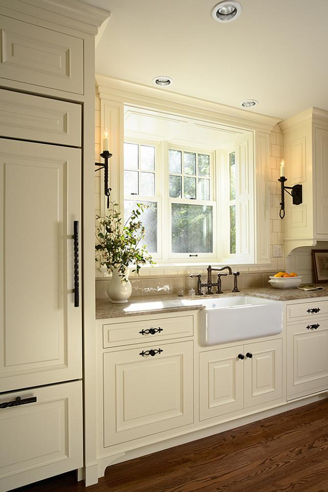 Inspirational custard color kitchen Kitchen painted with Farrow u Ball White Tie with Tudor style cabinets