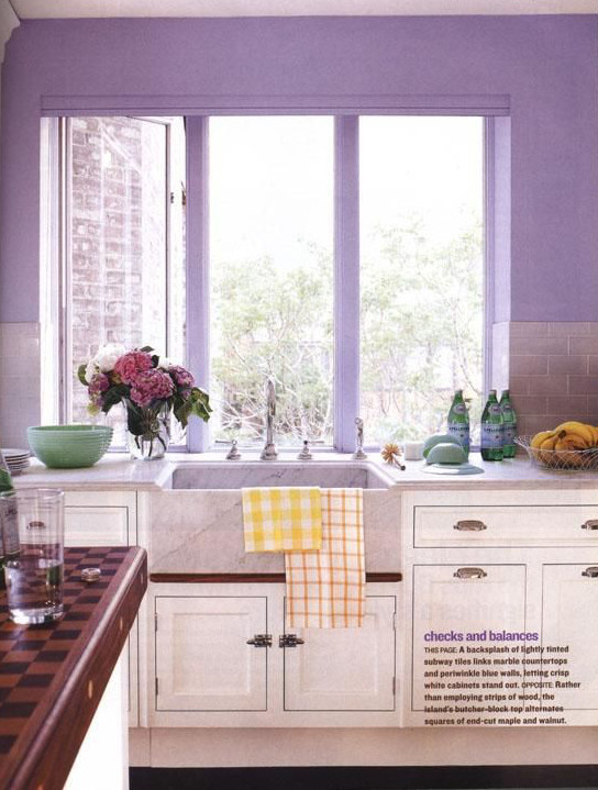 Lavender subway tile and walls to match energize white cabinets and Carrara  marble in an unusual way.