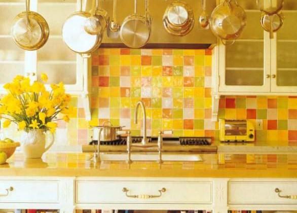 checkerboard tile kitchen - Yellow Kitchen