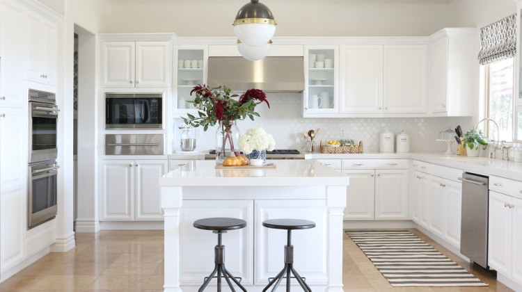 kitchen rugs - gray and white striped kitchen runner in a white California kitchen - Studio McGee via Atticmag