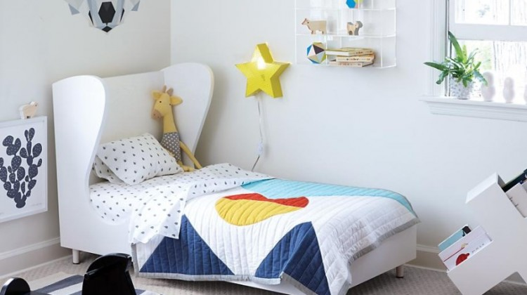 kids room rug - blue denim and white striped area rug - Land of Nod via Atticmag