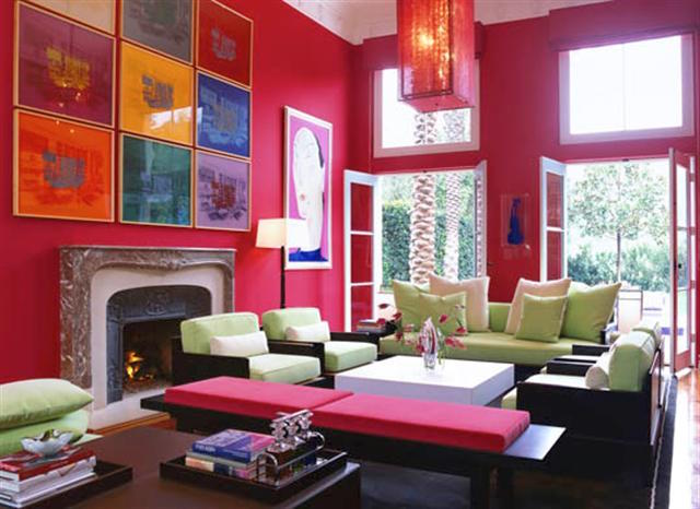 picture wall ideas - pictures that blend with a wall in a fuschia living room by Marjorie Skouras via Atticmag