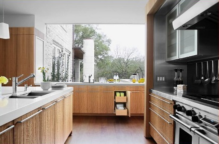 eucalyptus kitchen - contemporary kitchen with eucalyptus cabinets mixed with stainless steel - alterstudio via atticmag