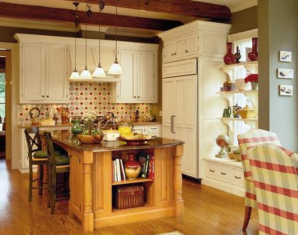 kitchen features ideas - low kitchen window disguised by painted shelves via atticmag