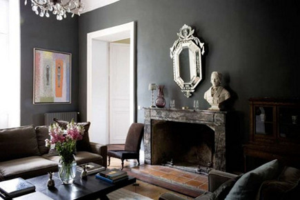 ... Gray Walls In A Living Room   Light Locations Via Atticmag Dark Rooms  In Muddy Victorian Brown, Eggplant And Green Are Colors To Use For Maximum  Drama. Part 53