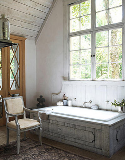 rustic master bath retreat with wood tub surround