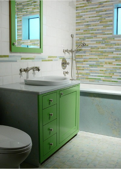 Kelly Green Bathroom Modern Bright Cabinet With Marble Counter Complete Tile Collection