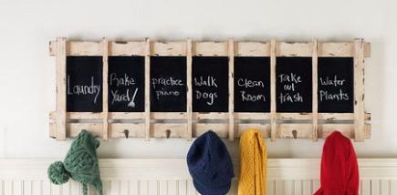 chalkboard decor - wooden painted distressed chalkboard coat rack combo - Wisteria via Atticmag