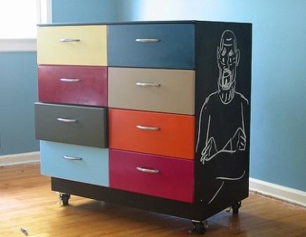metal drawer cabinet with chalkboard painted sides