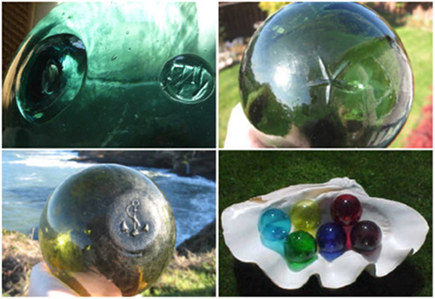 collection of vintage and new Japanese glass fishing floats - Tropical Nautical via Atticmag