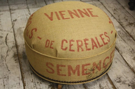 vintage european grain sack pillow stool by 3 fine grains via Atticmag