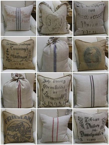 vintage european grain sack pillows by 3 fine grains via Atticmag