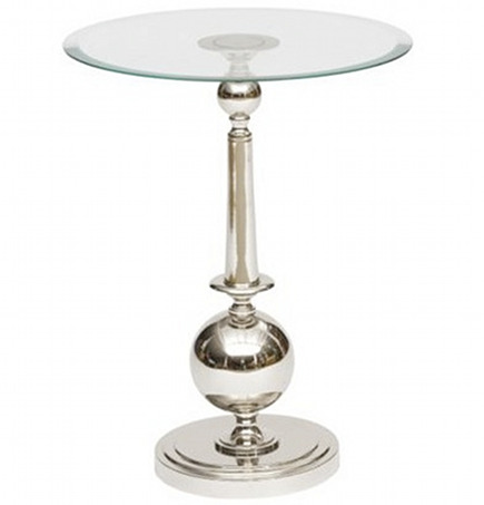 metallic décor - polished nickel side table with glass top by Arteriors Home via Atticmag