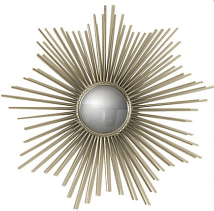 metallic décor - nickel mini sunburst mirror - High Fashion Home via Atticmag