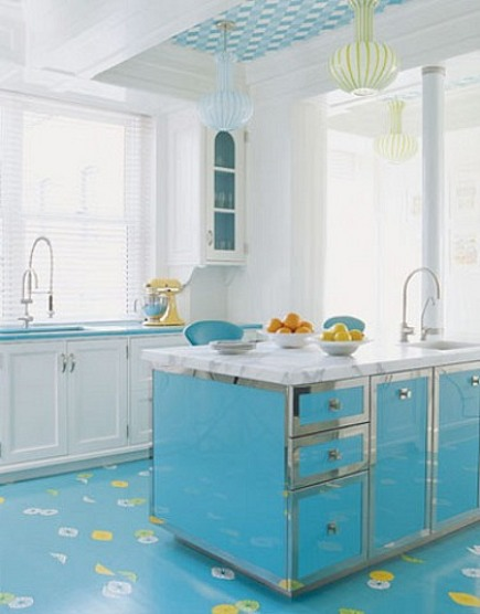turquoise kitchen with fruit on floor by Diamond Baratta