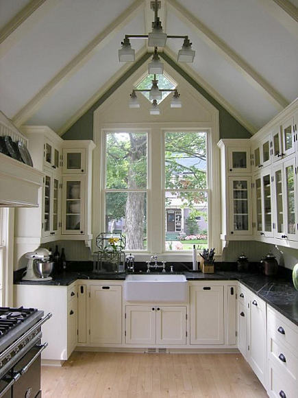 black and white kitchen in a Victorian cottage