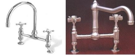 bridge faucets in Martha Stewart's and Sally Wheat's kitchens - Rohl Home via Atticmag
