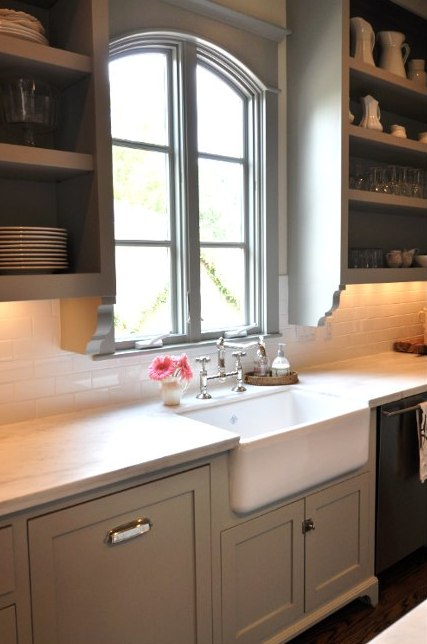 Sally Wheat's Rohl farm sink and bridge faucet a la Martha Stewart - Cote de Texas via Atticmag