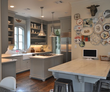 Sally Wheat's gray kitchen