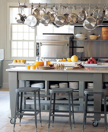 island of Martha Stewart gray Bedford, NY kitchen - via Atticmag