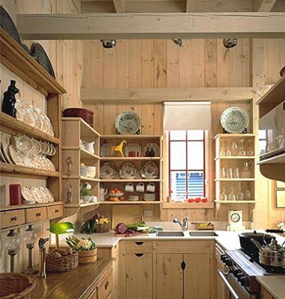 simple rustic whitewashed pine kitchen with open cabinets - Period Homes via Atticmag