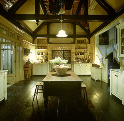 Overview of white Practical Magic movie kitchen