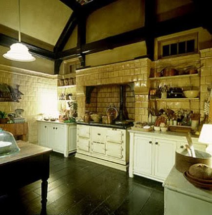 Practical Magic kitchen - cream and white movie kitchen with Aga cooker - via Atticmag