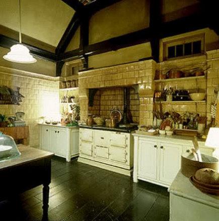 Practical Magic kitchen  - cream and white movie kitchen with Aga cooker - via Atticmag