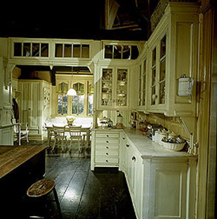 Cabinetry details in the white Practical Magic movie kitchen