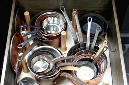 historic home kitchen - drawer storage for copper cooking pots pans in an island drawer - 11 Bonita via Atticmag
