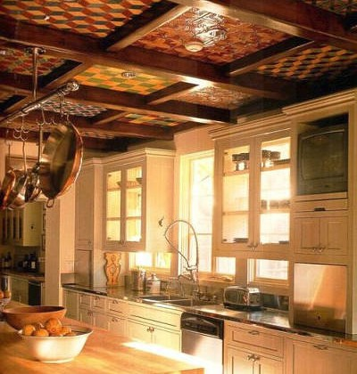 tiled coffered kitchen ceiling Wallace Neff designed house