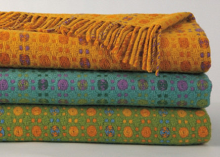 patterned jewel tone sofa blankets by company c