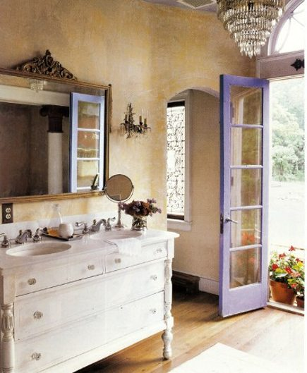 cottage bathroom with purple door