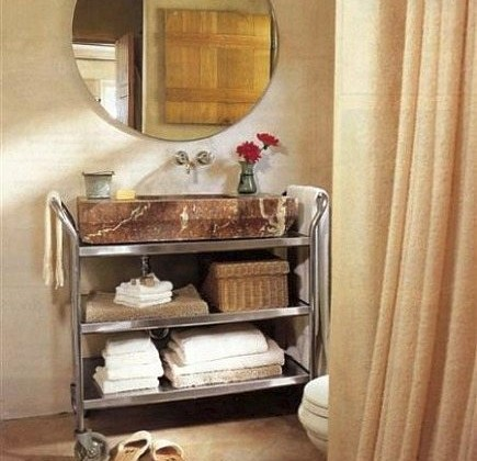 antique marble sink powder room with stainless steel utility cart vanity - Renovation Style via Atticmag