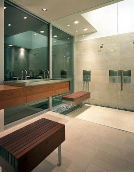 modern master bathroom with exterior glass wall and glass shower enclosure