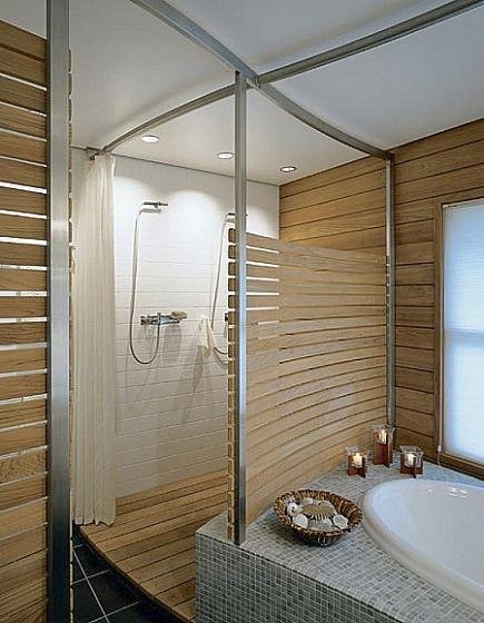 wood plank master bath - horizontal wooden planks in a double shower - Hutker Architects vis Atticmag