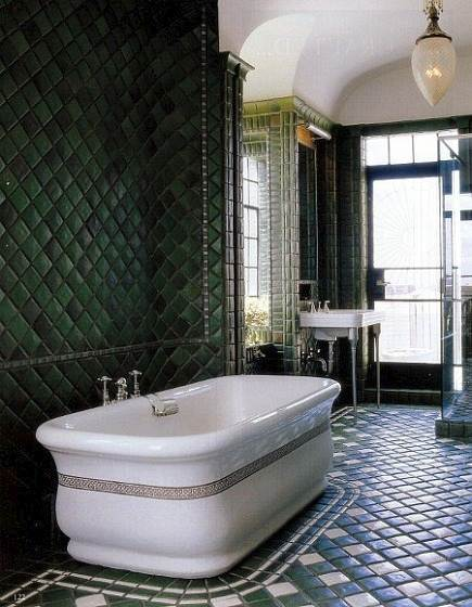 NYC penthouse bahtroom with floor and walls of Pewabic tile