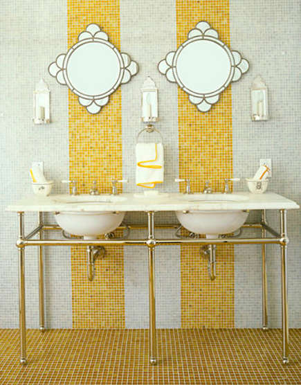 Yellow Waterworks Mosaic Stripes On A Bathroom Wall   House Beautiful Via  Atticmag Photo Gallery