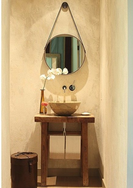 Great Traditional Powder Room With A Vessel Sink On Open Table Vanity With Round  Mirror   Via