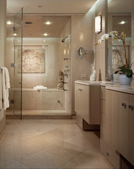 monochromatic limestone master bath with tub shower combo room
