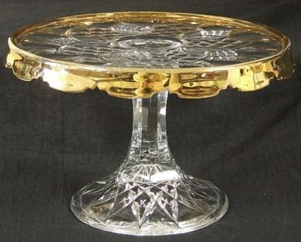 glass cake stands - Duncan and Miller's King Arthur pattern glass pedestal cake stand with gold skirting , ca. 1905. - via Atticmag