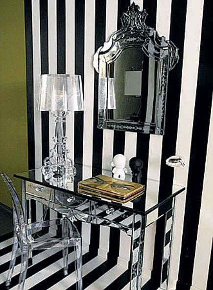 tent stripe walls - black and white stripe contemporary foyer via Atticmag & Tent Stripe Walls