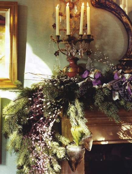 lavish christmas mantel with purple ribbon