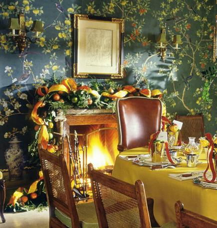 christmas mantels -Charlotte Moss mantel by Zeze in her dining room - town and country via atticmag