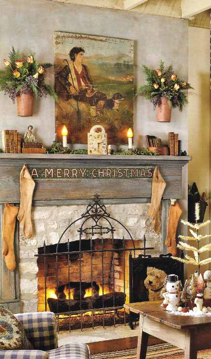 country christmas mantel decorated with words