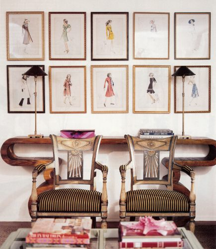 wall of fashion prints over a sofa